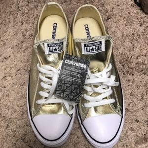 Converse all star gold shoes